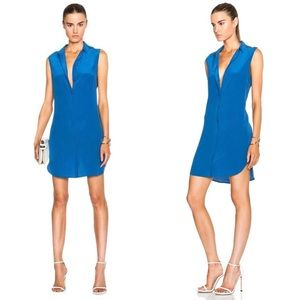 Equipment Blue Silk Sleeveless Button Down Dress